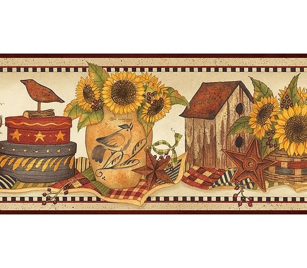 Interior Place   Burgundy Sunflower Crocks Wallpaper Border, 20.12 CAD  (http://