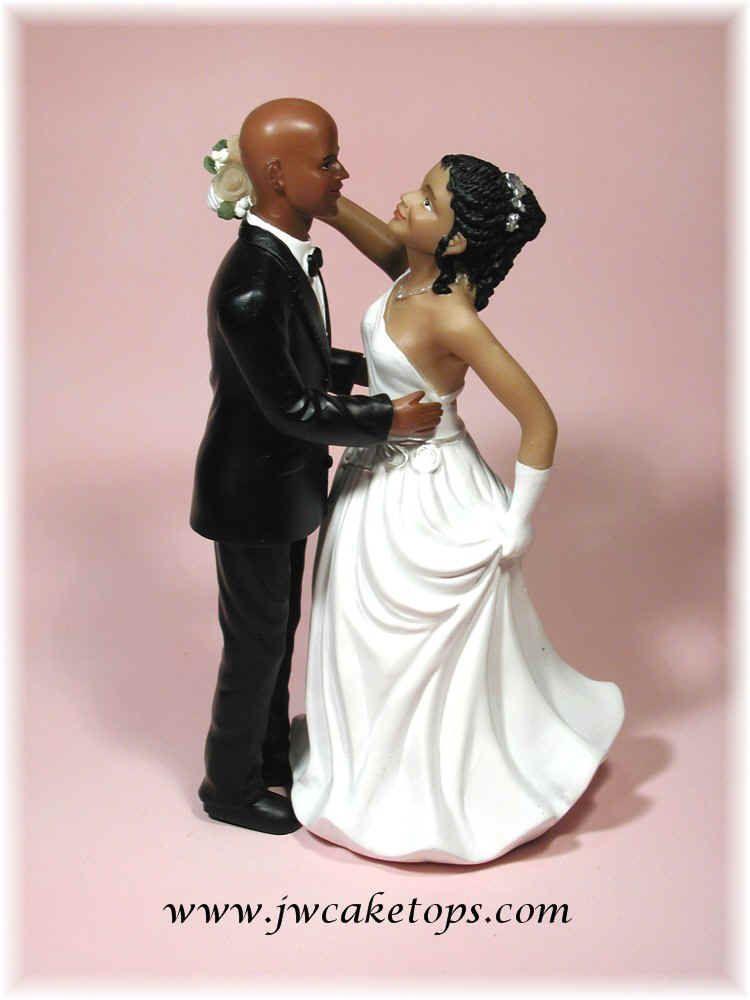 Interracial bald cake topper