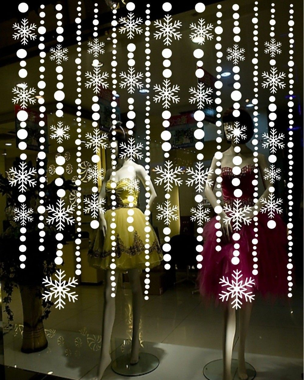 Possible example for frozen party http://www.aliexpress.com/item-img/Snowflake-Bead-Wall-Paper-Window-Decal-PVC-Curtains-for-Door-Glass-Stickers-Christmas-Home-Decore/1434636631.html