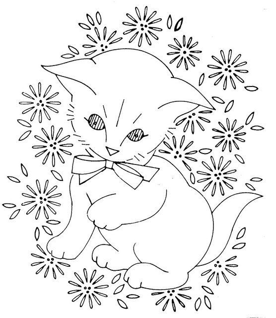 baby quilt laura wheeler kitty 761 | Bordado, Dibujo y Dibujos para ...