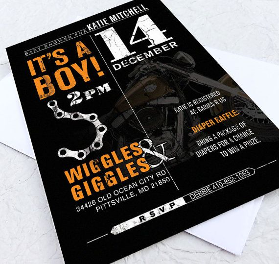 Baby Shower Invite 50 Invitations Harley Davidson Shower Rock