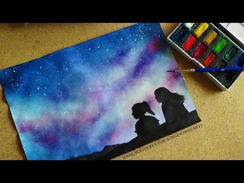 Night Sky Silhouette Painting Beginners Lesson Diy How To Fairy