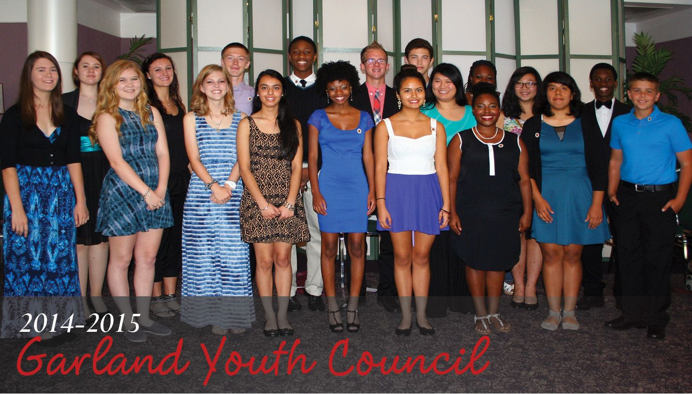 In September, appointees for the Garland Youth Council were installed for the 2014-15 year. Each member is appointed by the Mayor and City Council to give Garland's youth a voice in local government and to learn more about local government's role in its residents' lives. All high school age youth in Garland are welcome to attend GYC meetings and participate in their activities. Visit GarlandYouthCouncil.org or find Garland Youth Council on Facebook.