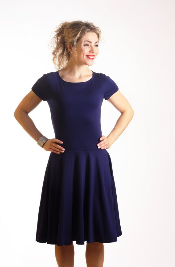 Fit And Flare Dress Skater Dress With Pockets Dark By Adorique Blue Dress Casual Elegant Navy Dress Dark Blue Dress