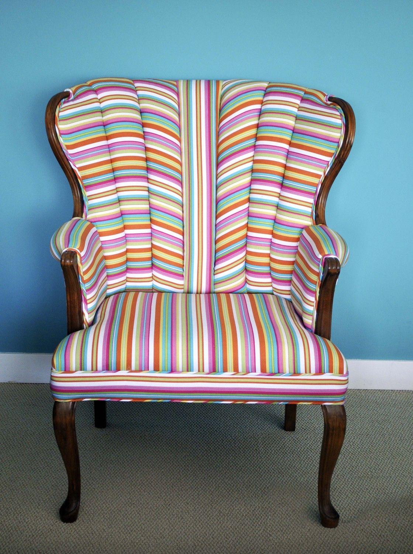 Vintage Modern Candy Stripe Upholstered Chair Sittin