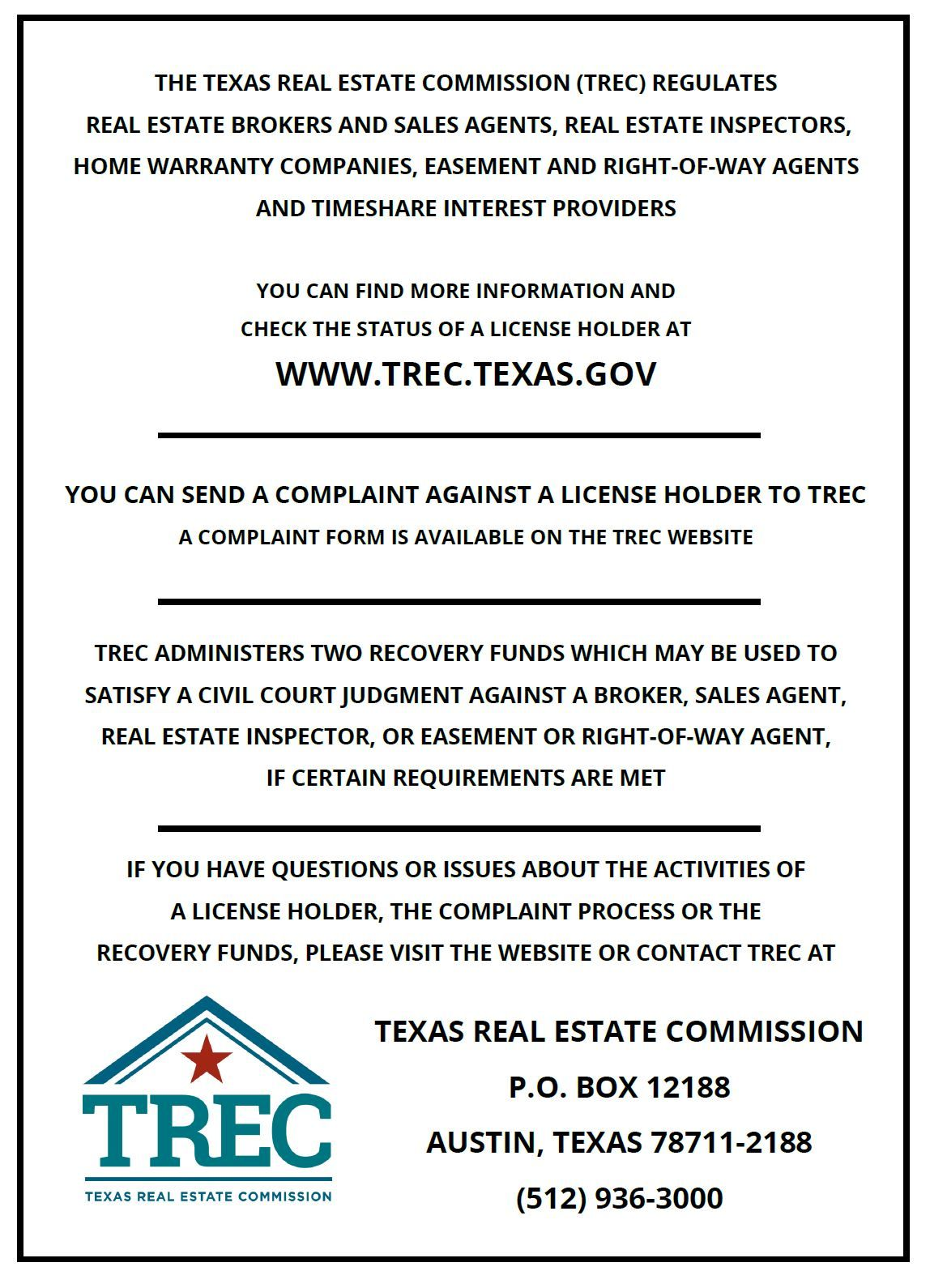 Trec Consumer Protection Notice Texas Real Estate Consumer Protection Real Estate Information