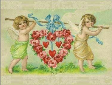 Vintage Cupids Valentine Postcard, ca. 1900s