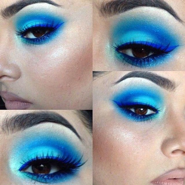 Pritylipstix Dramatic Bright Blue Eye Makeup Makeup Obsession