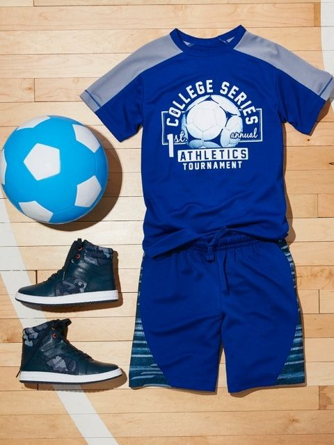 62a035c9f31b Boys' fashion | Kids' clothes | Activewear | Shorts | Graphic top | Hi-top  sneakers | Soccer outfit | The Children's Place