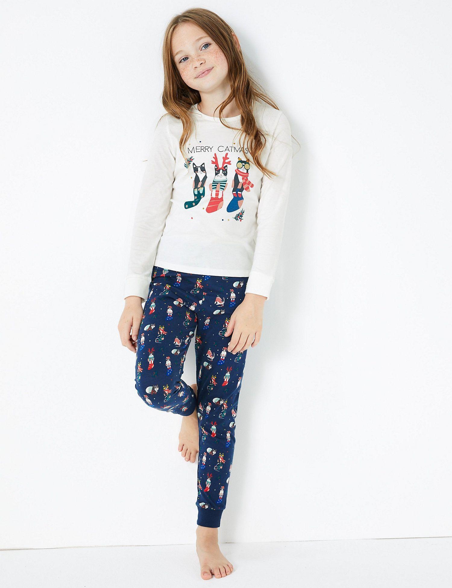Cotton Christmas Cat Print Pyjama Set (316 Years