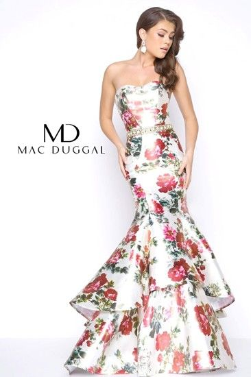 91505a6f9ff Floral print evening gown design by Mac Duggal