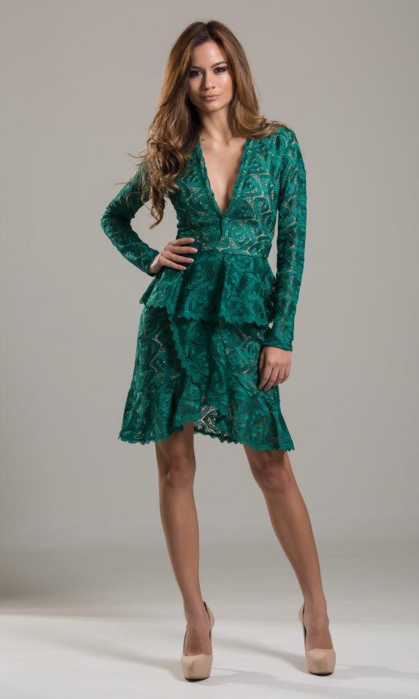 Vestido verde de manga comprida