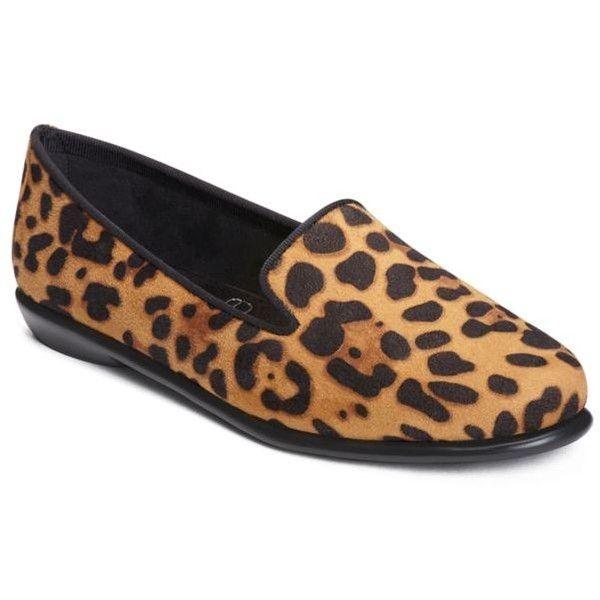 db254c0d1e35 Aerosoles Leopard Tan Faux Suede Betunia Smoking Slipper - Women's (105  CAD) ❤ liked on Polyvore featuring shoes, slippers and leopard tan faux  suede