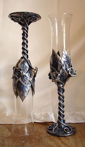 ice blue clear flutes with roses glas bemalte gl ser und basteln mit perlen. Black Bedroom Furniture Sets. Home Design Ideas