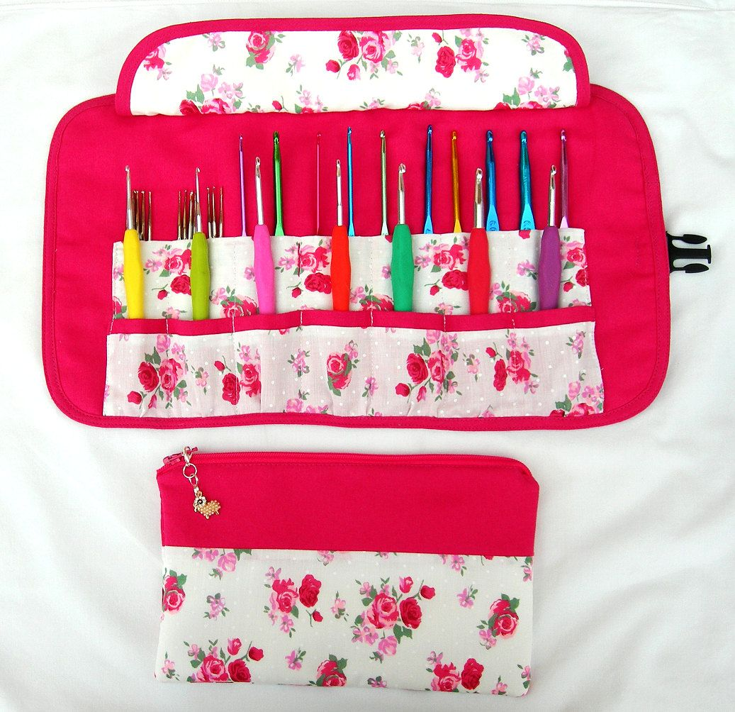 Personalised Crochet Hooks Needles Case Bag Pouch Gift