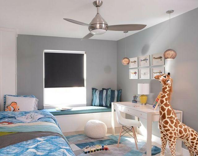 Kinderzimmer neutrale Farbe weißer Schreibtisch graue Wand | KIds ...