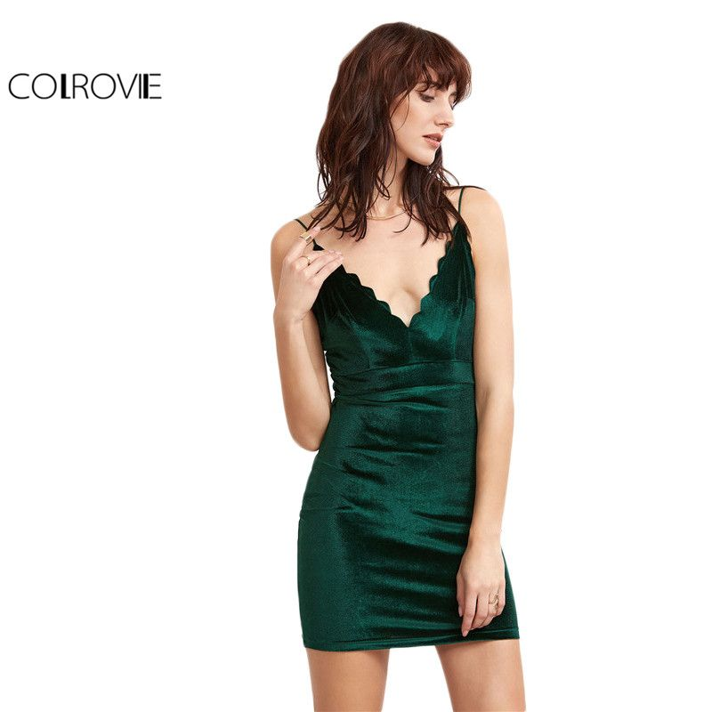 63f520d62a25 COLROVIE Party Sexy Summer Dress Slip Short Tight Dress Green Scallop Deep V  Neck Velvet Sleeveless Cami Bodycon Dress