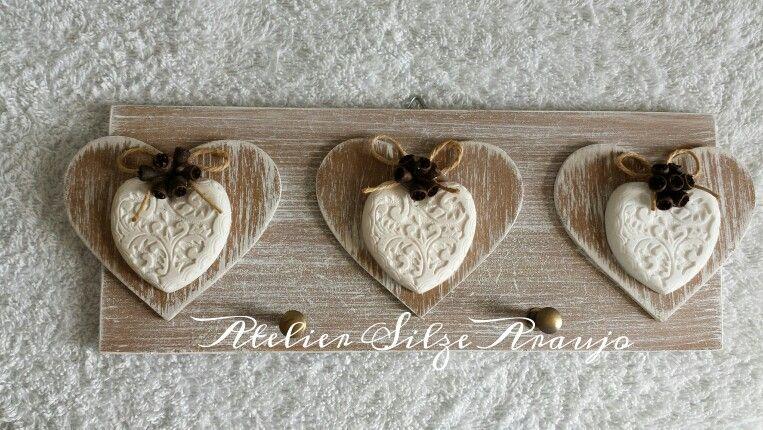 Porta-chaves 3 corações