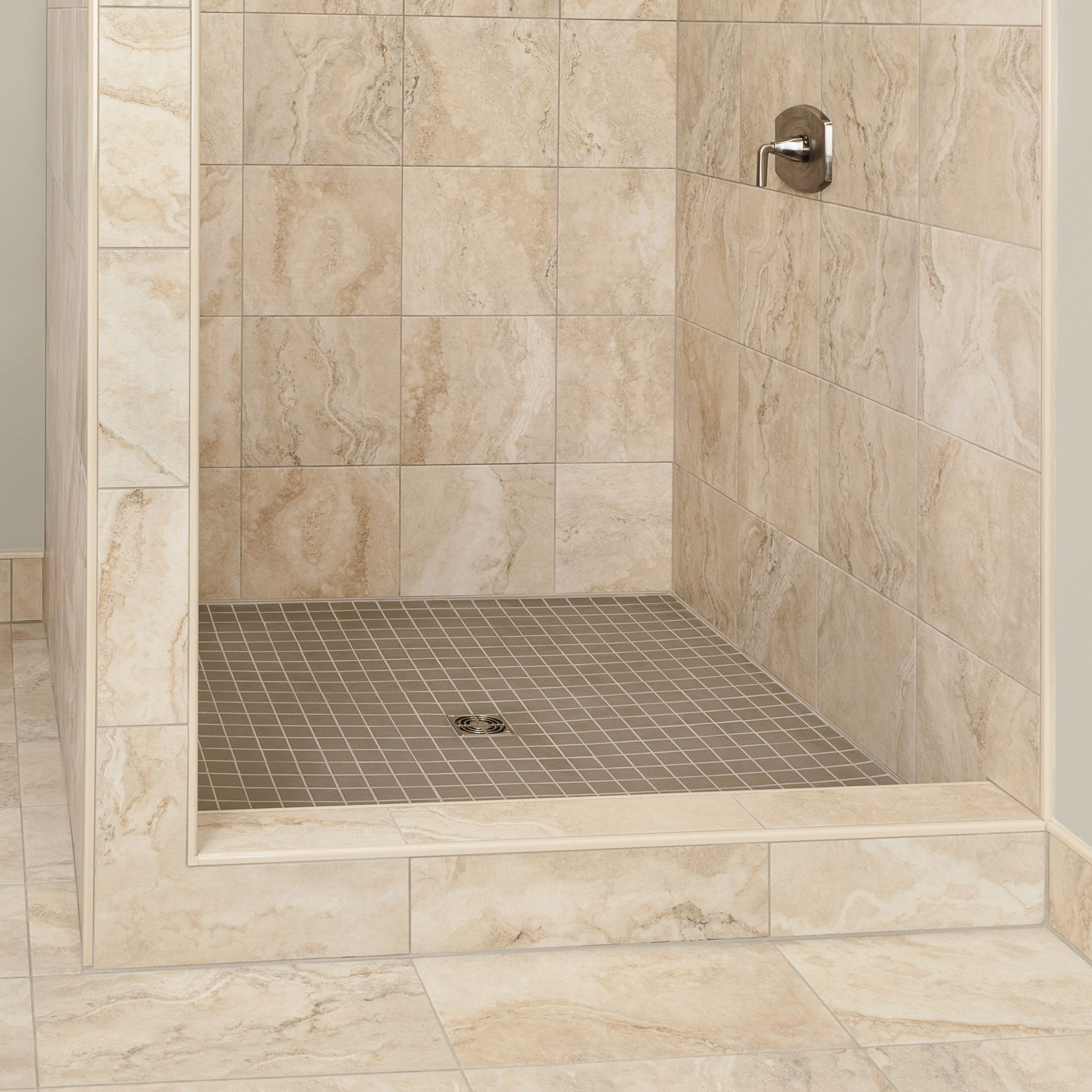 Point Drain Shower With Curb With Kerdi Waterproofing Membrane Schluter Com Bathrooms Remodel Shower Bathtub