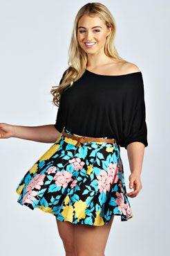 Jenna Large Floral Skater Skirt at boohoo.com