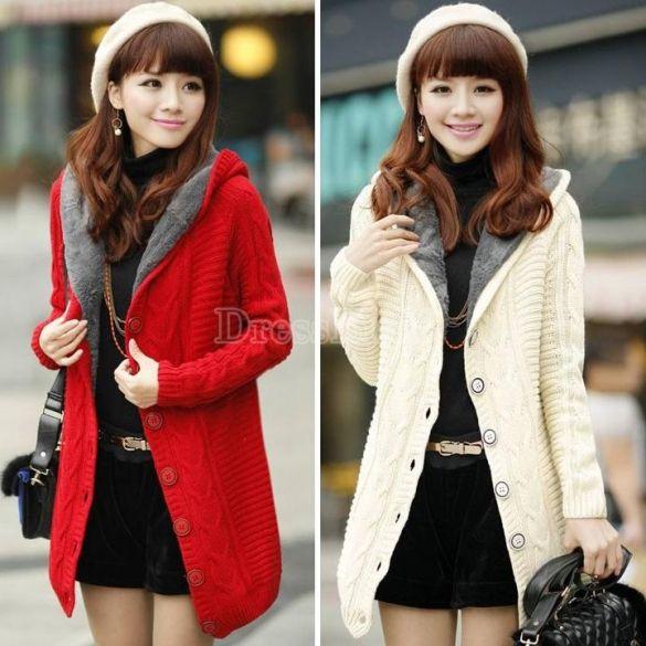 2014 New Women's Winter Fashion Hooded Velvet Long Coat Loose Sweater Jacket
