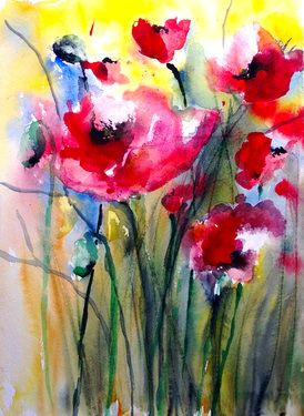 Poppies Ii For Sale At Ugallery Flower Art Art Watercolor Art