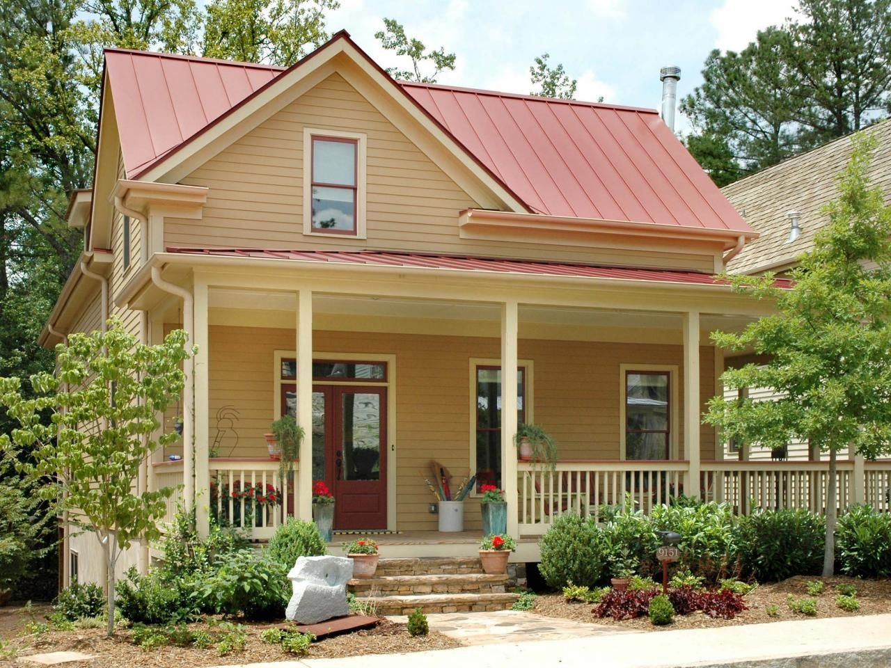 Best Exterior Paint Colors With Red Metal Roof About Designlens 400 x 300