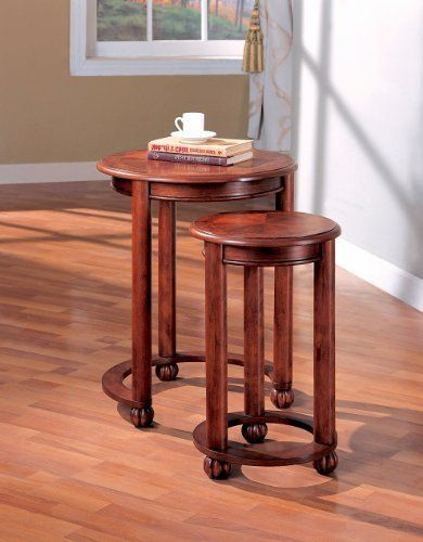 2PC Traditional Round Burl Inlay Nesting Table Set In Cherry Burl Wood  Finish. (Coaster