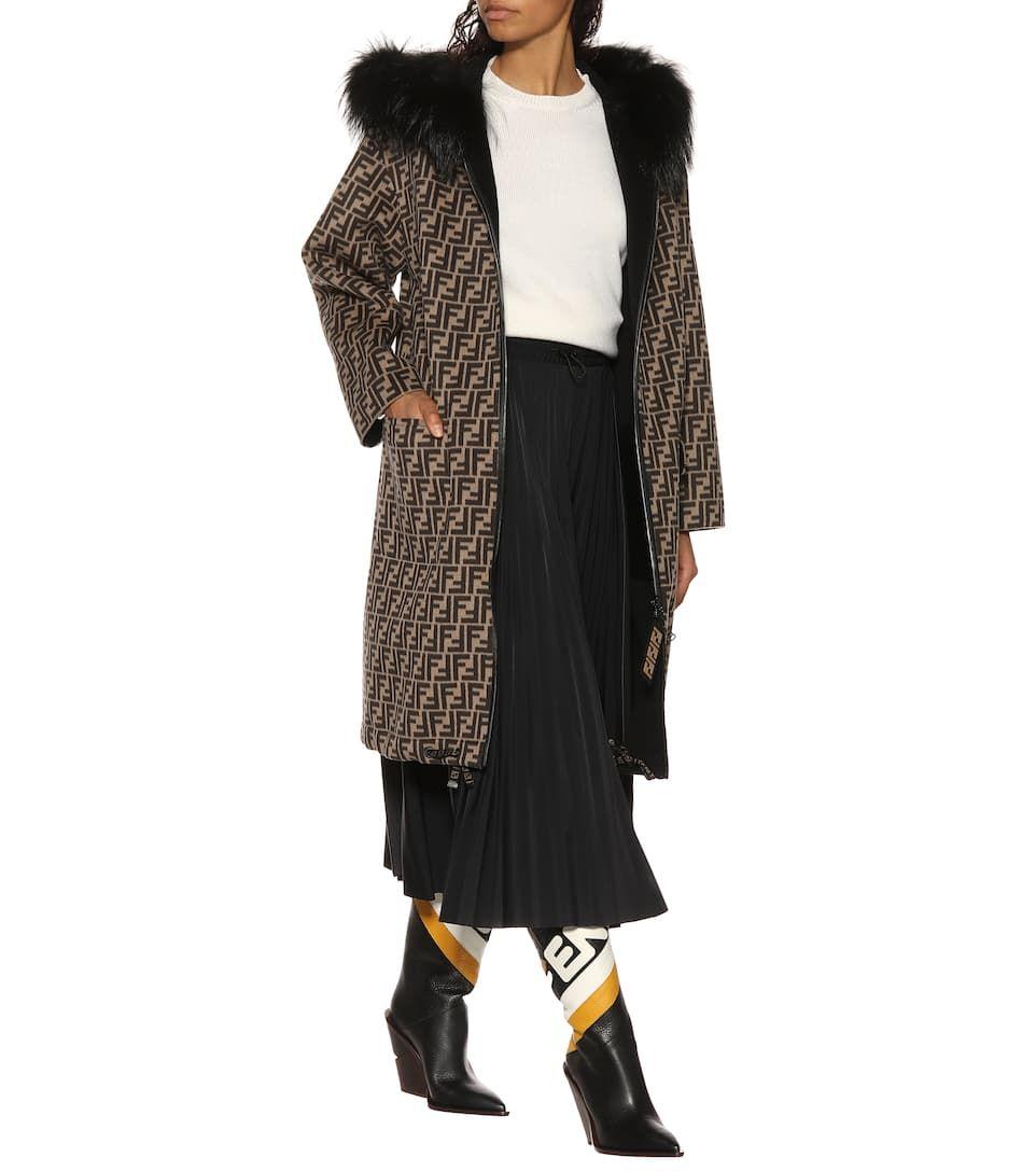 314b9d6804ed4 Fendi Fur-trimmed wool coat in 2019