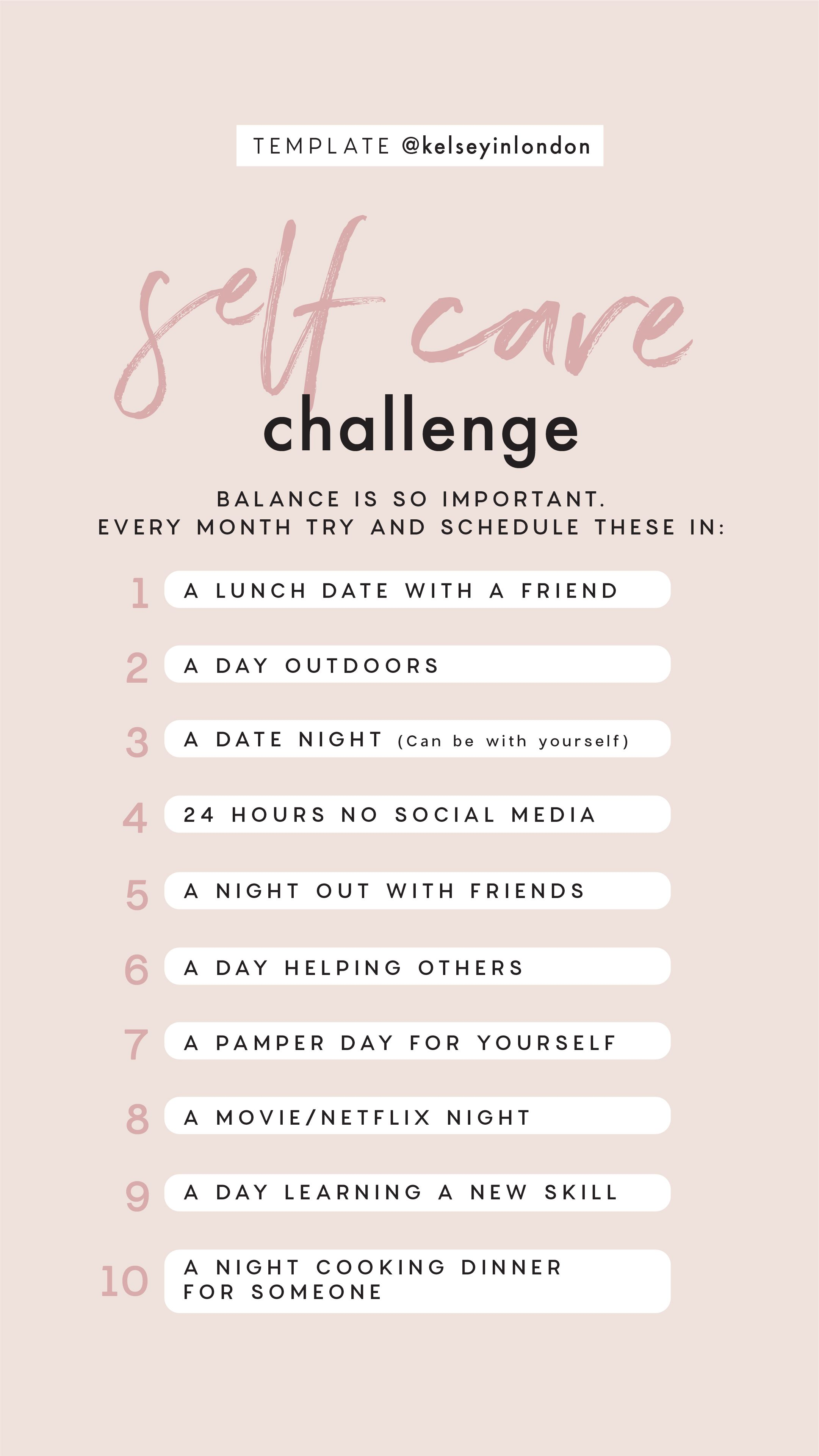 Instagram Story Template Self Care Challenge