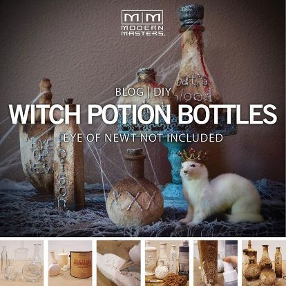 halloween diy witch potion bottles blue patina stand