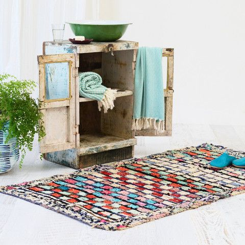 Colourful Moroccan Vintage Boucherouite Rug