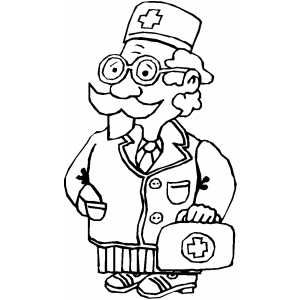 Doctor With Medical Kit In 2020 Medical Kit Coloring Pages Medical