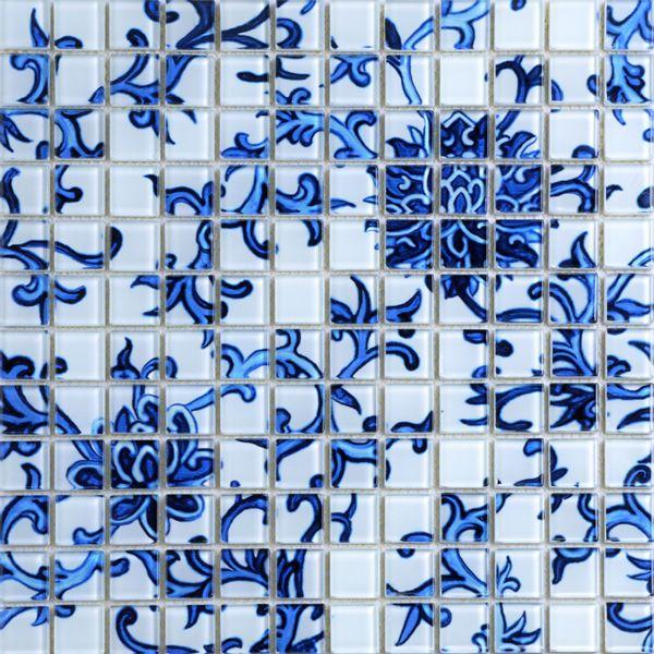 crystal glass mosaic blue and white tile backsplash kitchen