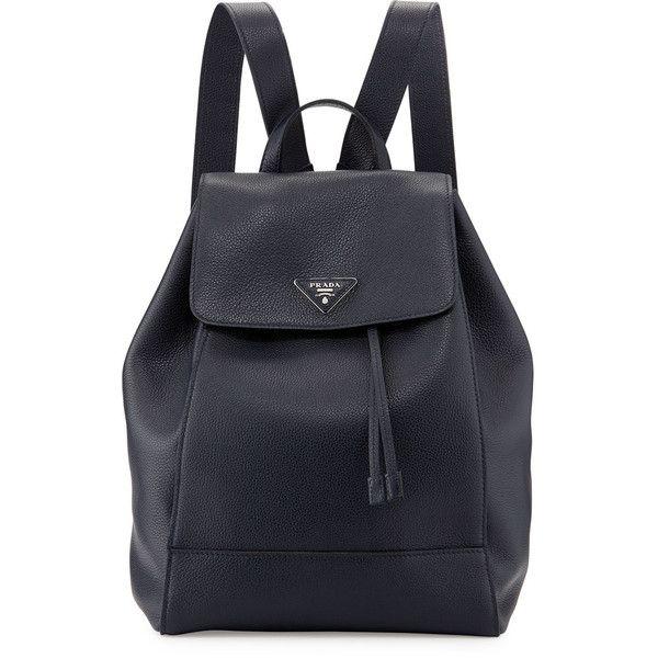 ba86a8e28aa2 Prada Vitello Daino Backpack ($2,390) ❤ liked on Polyvore featuring bags,  backpacks, dark blue, drawstring backpack bags, drawstring bag, triangle bag,  ...