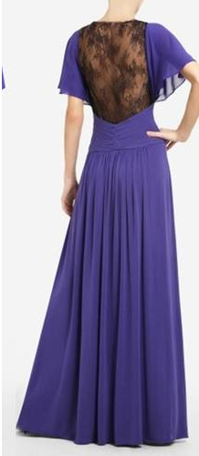 BCBG MAXAZRIA    Capture a vintage glamour in this sophisticated full-length dress that combines a ladylike silhouette with a surprising lace touch. Deep V-neck. Short draped sleeves. Classic fit with a full-length silhouette. Jersey dress with semi-sheer chiffon contrast at bodice. Draped sleeve...