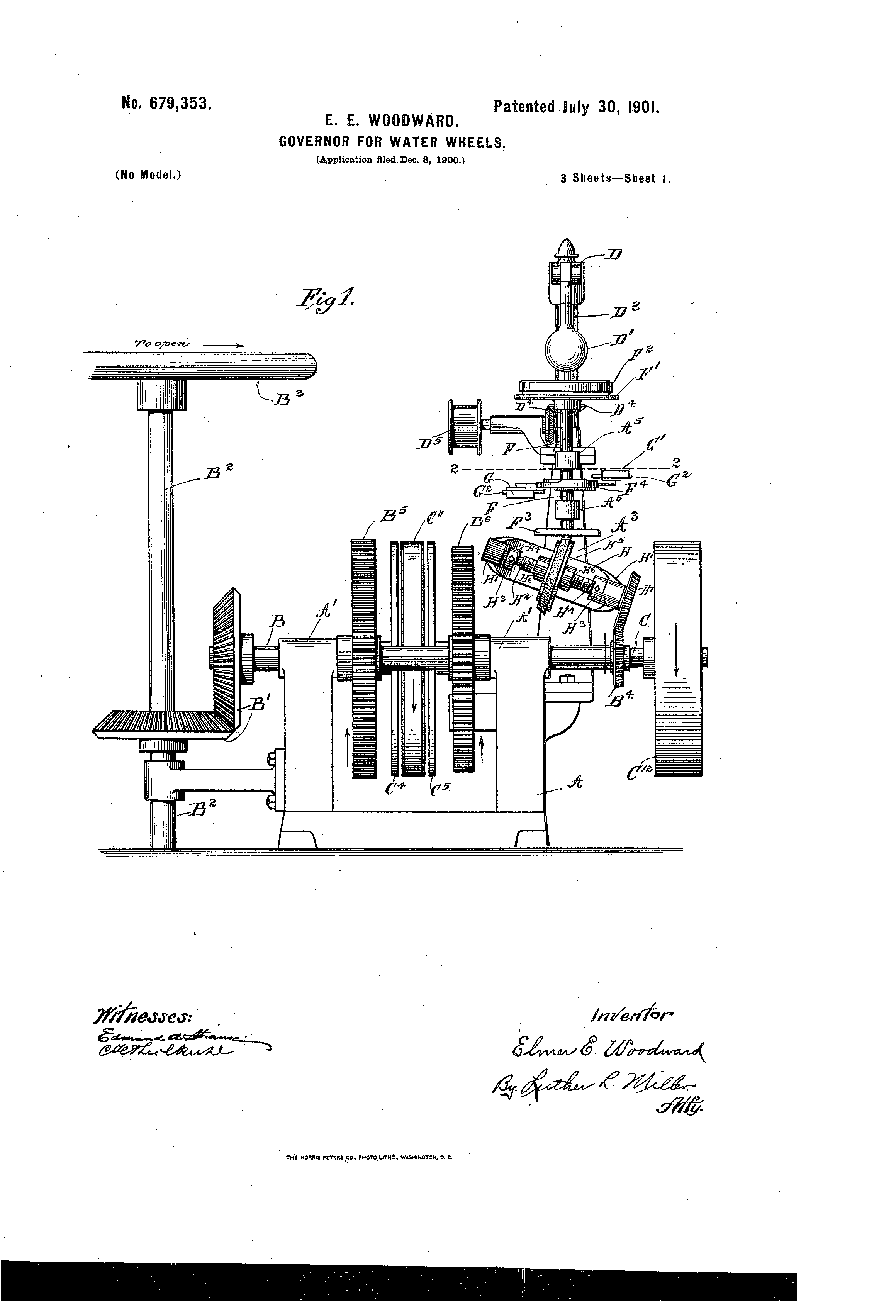 Woodward Governor Company's patent 679,353. The