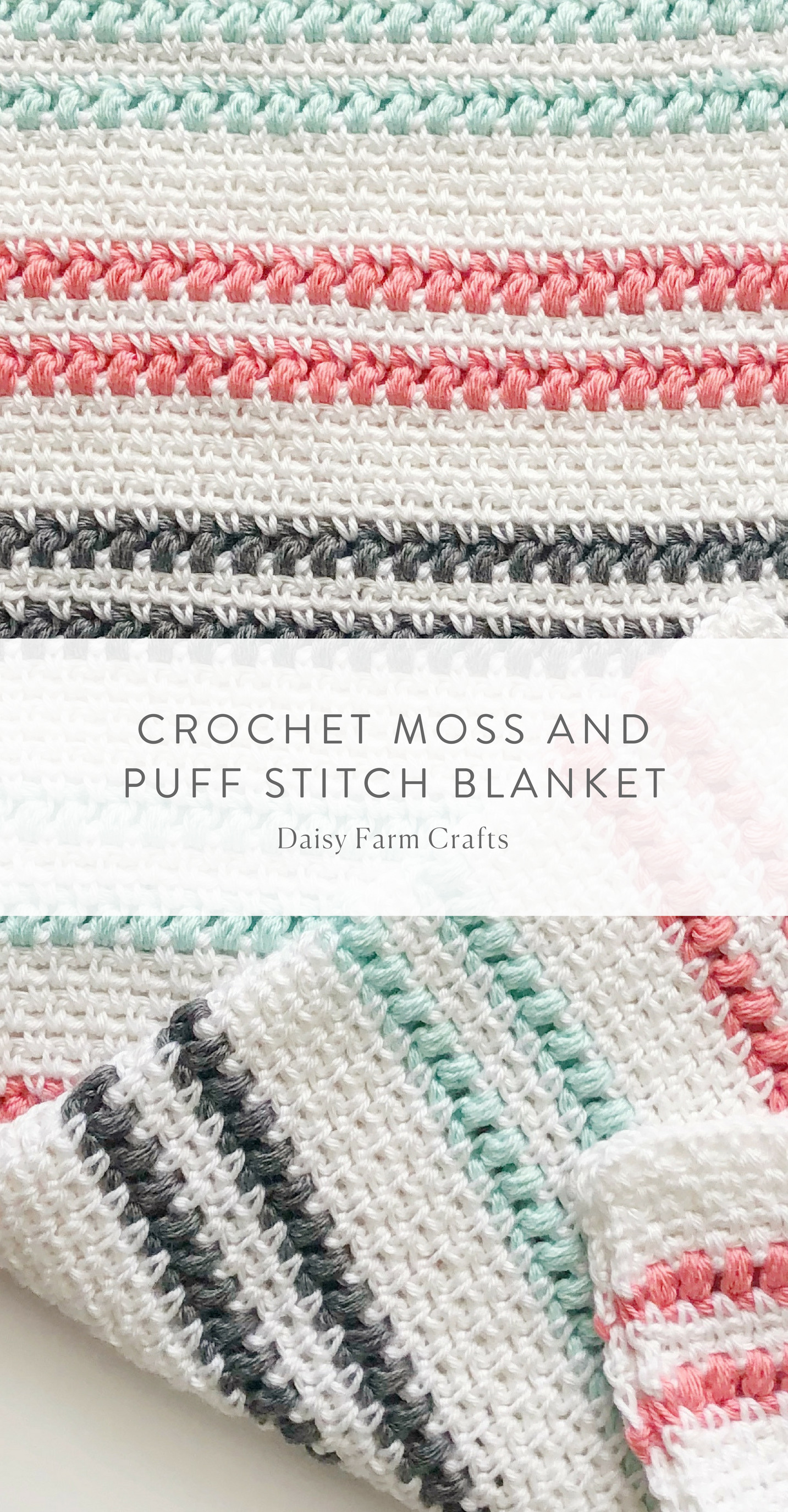 Free Pattern - Crochet Moss and Puff Stitch Blanket | Crochet ...