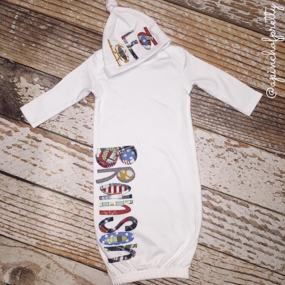 Infant Gown & Hat Set with Name / Baby Gown / Baby boy / Name Gown ...