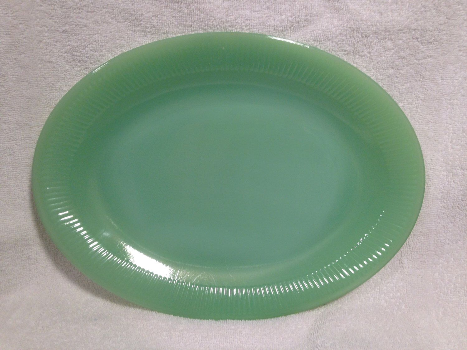 Vintage pink depression glass round platter 12 quot ribbed platter - Jadeite Oval Platter Fire King Glass Lovely Jade Green Color No Chips Or