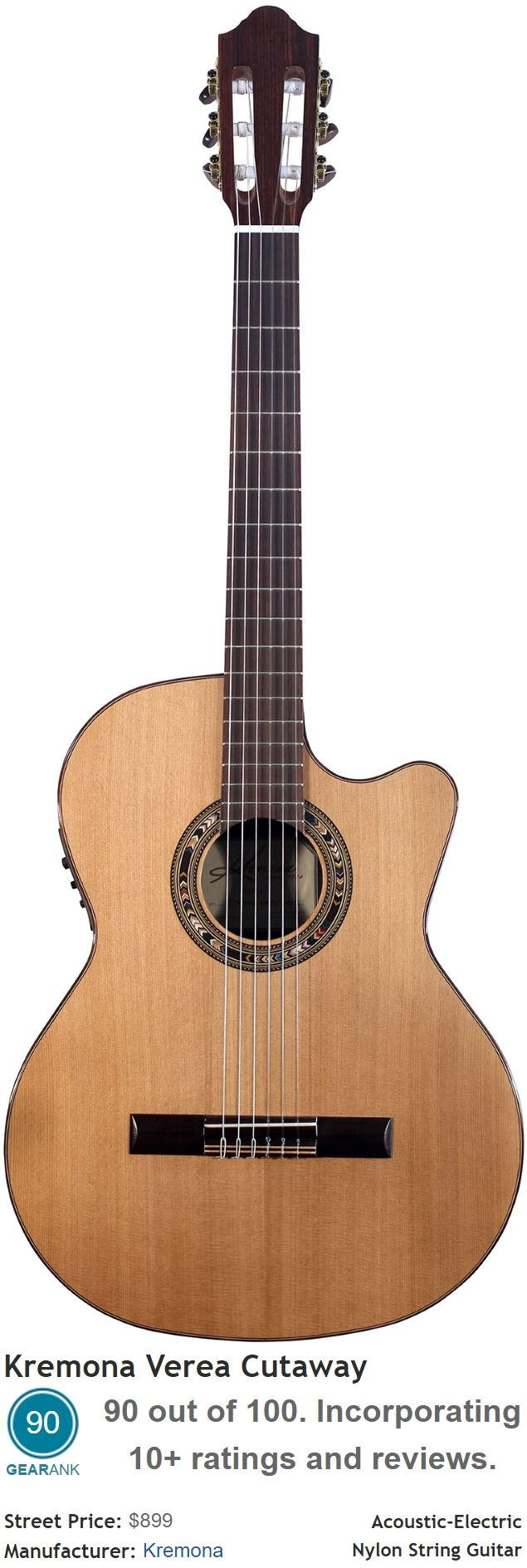 the kremona verea cutaway acoustic electric nylon string guitar is the equal 4th highest rated. Black Bedroom Furniture Sets. Home Design Ideas