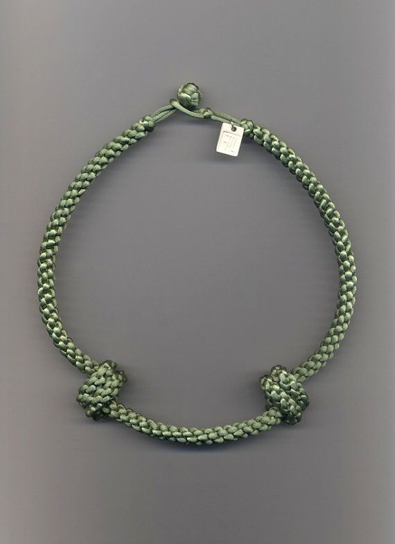 TWO KNOTS - matinee necklace - sage green thread on Etsy, €50.00