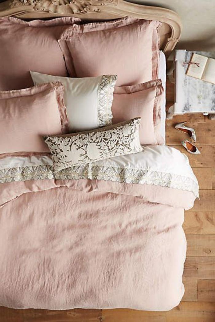 couleur rose poudr parures de lit roses chambre fminine superbe - Parure De Lit Rose Poudre