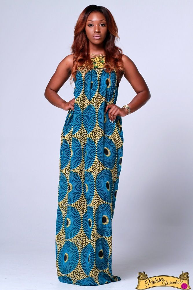 Makinisy ankara chiffon maxi dress with pockets. Loose-Fit ~African ...