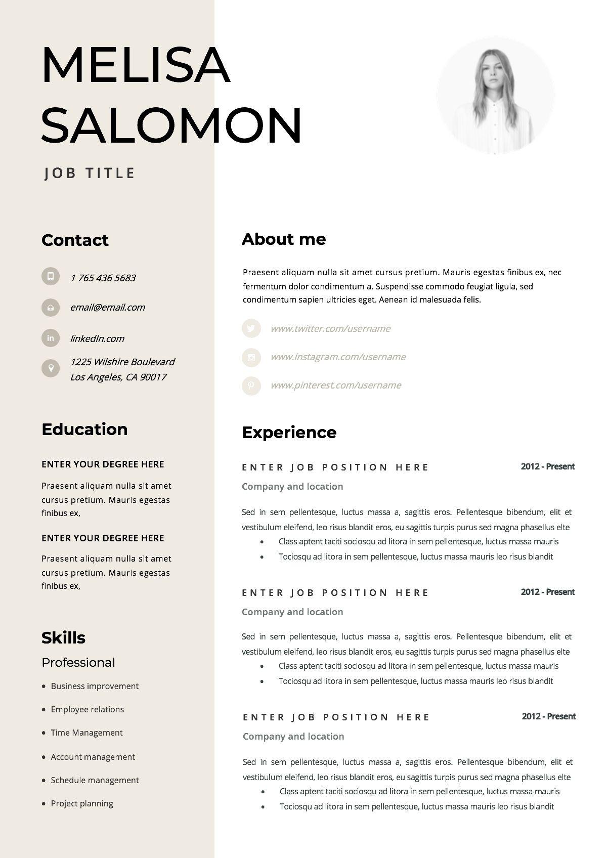 Szablon Cv Projekt Cv Wzor Cv W Pelni Edytowalny W Microsoft Word