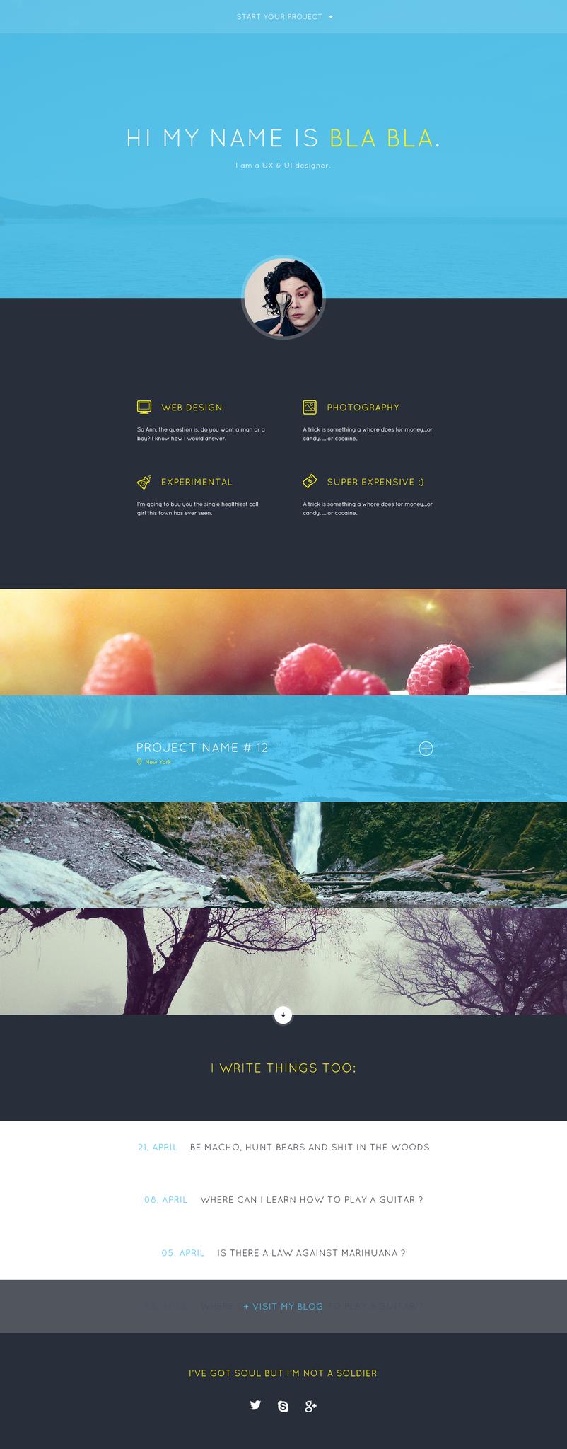 Website Layout Template Bla Bla's Portfolio Free Template #flat #free #layout