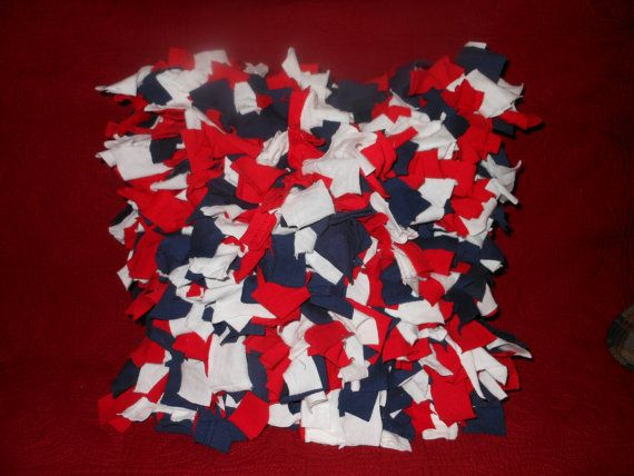 Shaggy Rag Rug Pillow Red White Blue Square Americana by melmac84