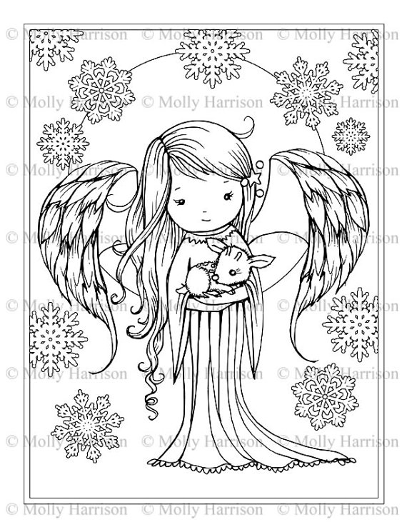 Angel holding tiny Fawn Coloring Page - Fantasy Art Illustration ...