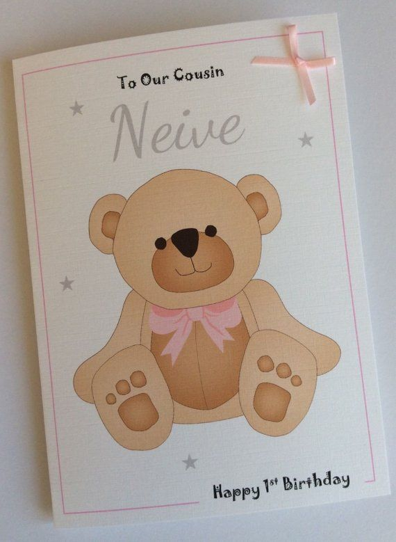 Handmade Personalised 1st First Birthday Card Cute Bear