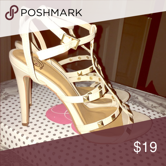 Nude Studded Strappy Heels Only with once! Great condition, price negotiable Delicious Shoes Heels